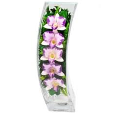 Цветы в стекле: композиция из натуральных орхидей в вазе