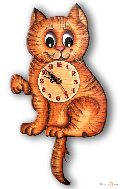Часы настенные с маятником Кошка