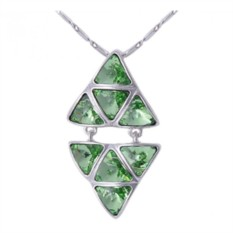 Кулон с зелеными кристаллами Сваровски «Отражение»