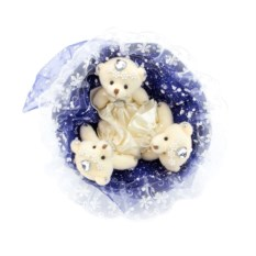 Букет с медвежатами Зефирки синего цвета