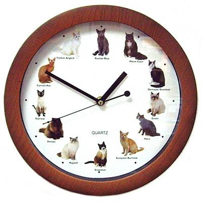Большие настенные звуковые часы «Мяукающие кошки»