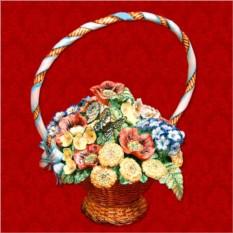 Элитный штоф для напитков «Очаровательный букет в корзине»