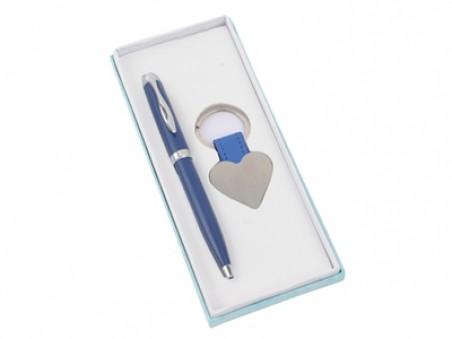 Серебристо-синий набор: шариковая ручка и брелок Сердце