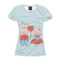 Женская парная футболка Влюбленные зайцы