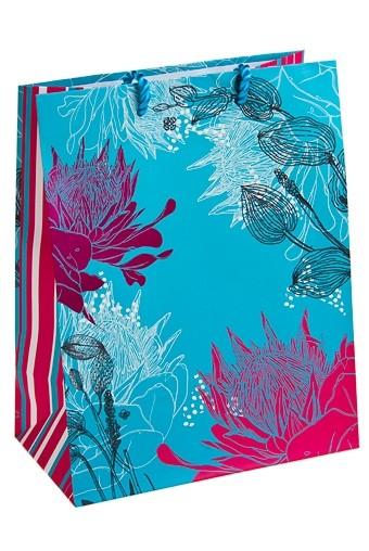 Пакет подарочный Цветы на голубом фоне
