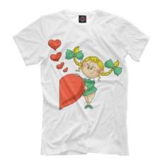 Мужская футболка Девочка с половинкой сердца