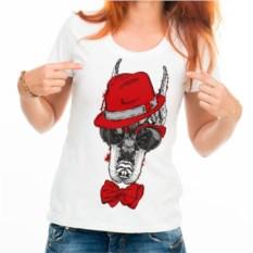 Женская футболка Собака в шляпе, бабочке и очках