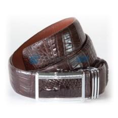 Мужской ремень из кожи крокодила, цвет: темный шоколад