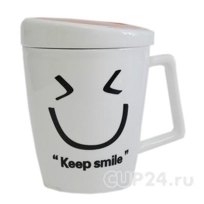 Кружка с настроением Keep smile (оранжевая)
