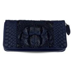 Темно-синий кошелек-клатч из кожи крокодила и питона