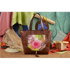 Коричневая сумка-шопер Винтажный паттерн Elole Design