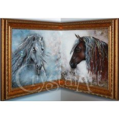 Угловая картина Swarovski Лошадиный дуэт