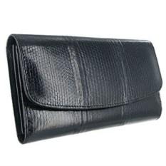 Черное портмоне женское из кожи морской змеи