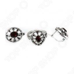 Серьги и кольцо JENAVI «Луара» с гранатовым кристаллом