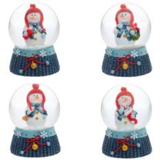 Фигурка в стеклянном шаре Снеговик (цвет — синий)