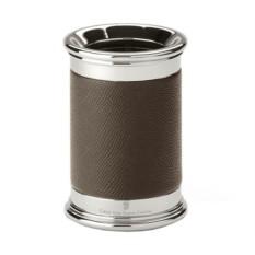 Коричневый кожаный стакан для ручек Graf von Faber-Castell