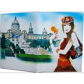 Обложка для автодокументов (изображение девушки с коктейлем)