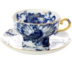 Чайная чашка с блюдцем из фарфора Поющий сад