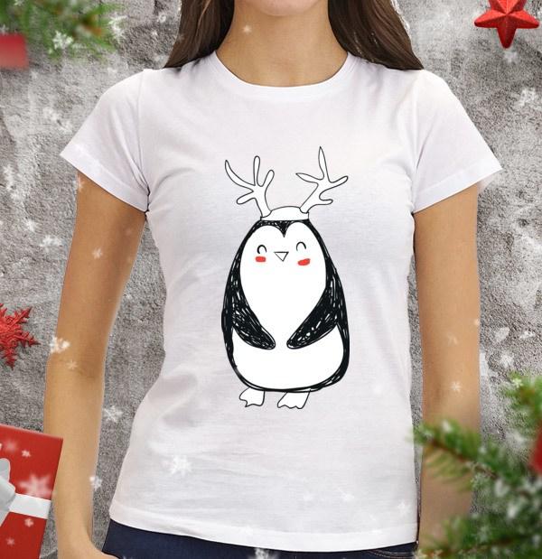 Женская футболка Пингви с рожками