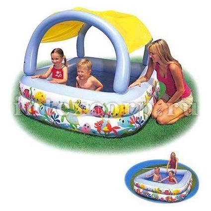 Надувной бассейн с навесом «Рыбки»