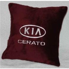 Бордовая подушка с белой вышивкой Kia cerato