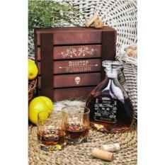 Именной подарочный набор для виски Череп в цилиндре