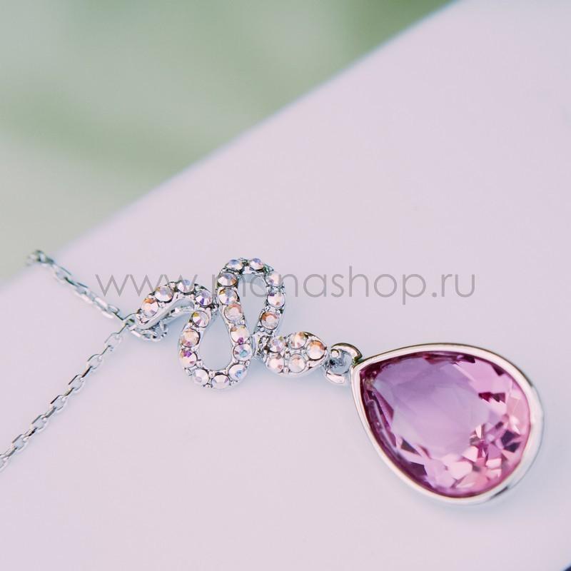 Кулон с розовым кристаллом Сваровски «Коварство»