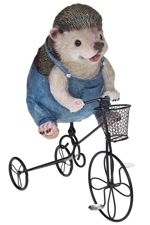 Фигурка садовая с кашпо Ежик на велосипеде