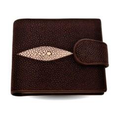 Коричневый мужской кошелек с монетницей из кожи ската