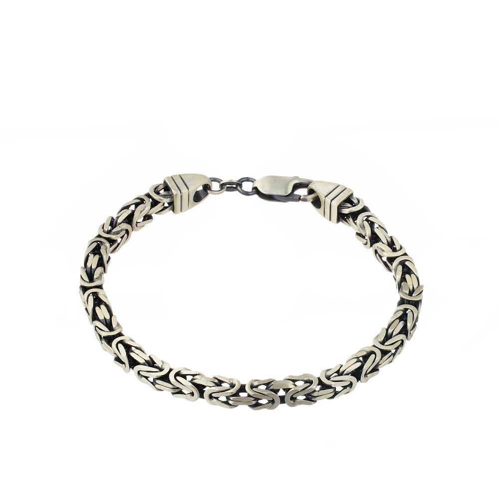 Мужской серебряный браслет с чернением и палладием