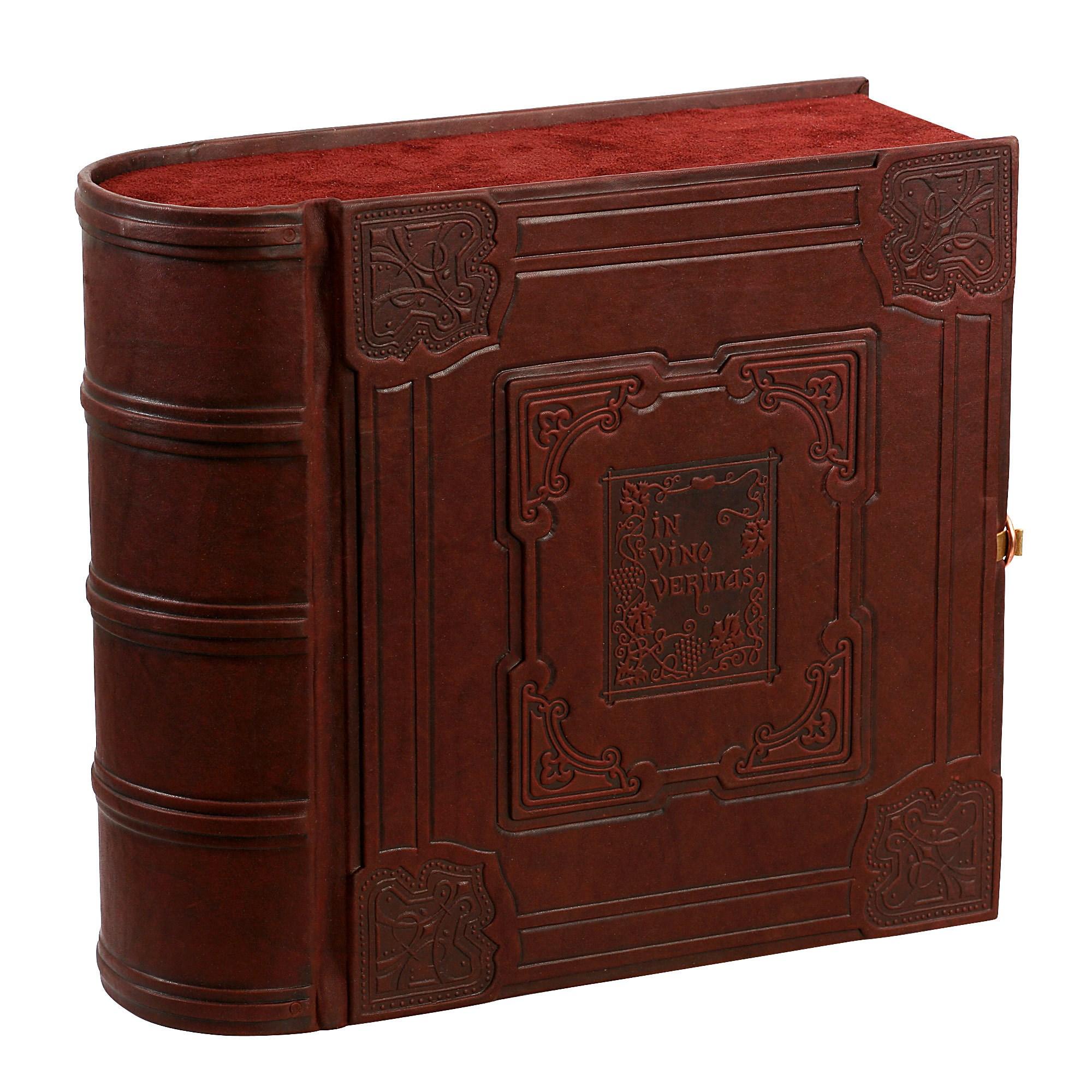 Настольная книга-бар из кожи с графином и рюмками