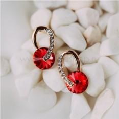 Серьги «Золотые подковы» с красными камнями Сваровски