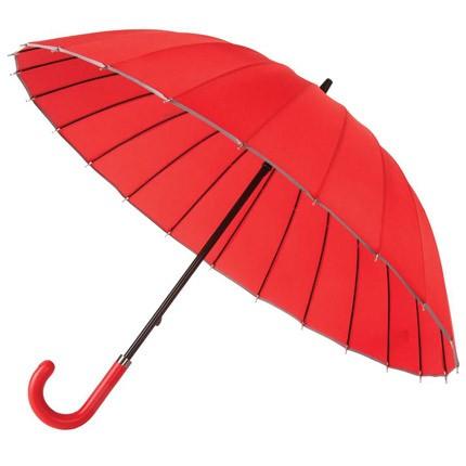 Механический зонт-трость Ella с кожаной ручкой
