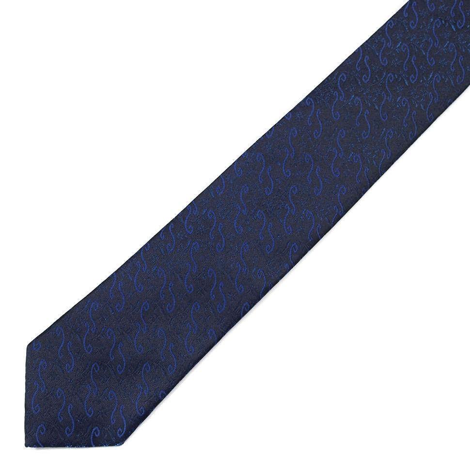 Синий галстук с жаккардовым узором