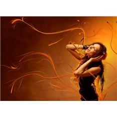Обложка для автодокументов Девушка с наушниками