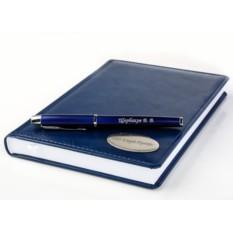 Набор: ручка Parker и ежедневник с гравировкой (синий)