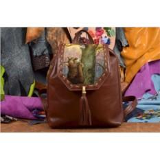 Коричневый кожаный рюкзак с принтом Ангел на дереве