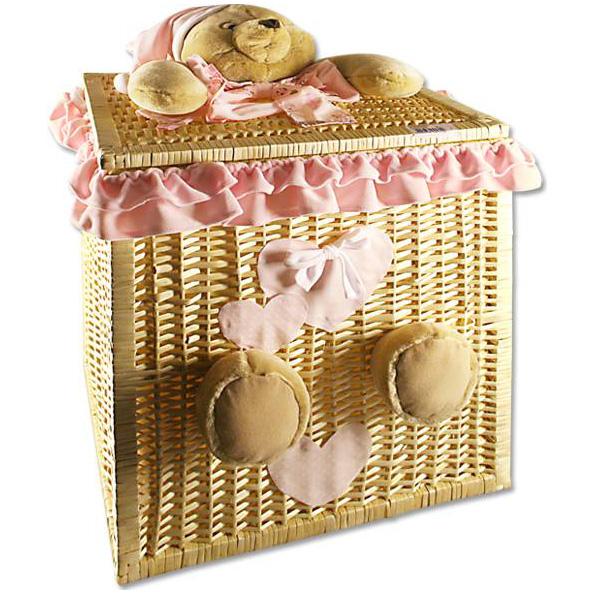 Корзинка большая (Мишка розовый) Creazioni Franca