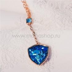Кулон с голубым кристаллом Сваровски «Морской якорь»