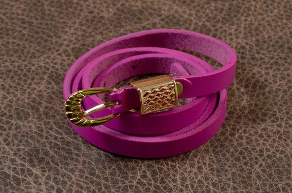 Кожаный женский ремень Eclat, розовый