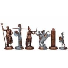 Синий металлический шахматный набор Троянская война
