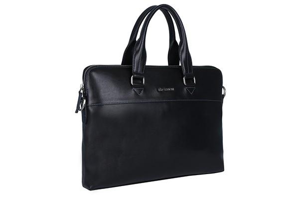 Чёрная мужская сумка Leo Ventoni из натуральной кожи