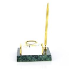 Зеленый настольный набор с держателем для листов и ручкой