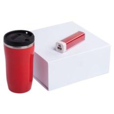 Набор Non Stop красного цвета из термостакана и аккумулятора