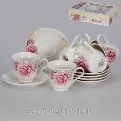 Набор кофейных пар Patricia Розовые розы на 6 персон