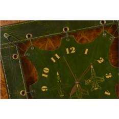 Часы из кожи Эскизы самолетов (зеленый)