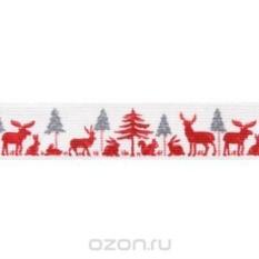 Тесьма с печатным рисунком Лес, цвет: белый, красный