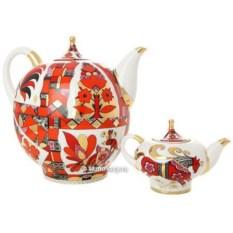Комплект фарфоровых чайников Красный конь