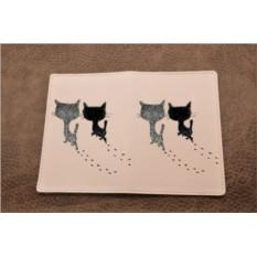 Кожаная обложка для паспорта  Кошачьи следы