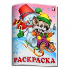 Новогодняя раскраска Волчонок и Снеговик на санках